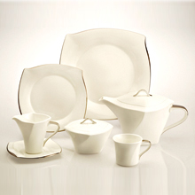 FORTE LACE PLATINUM - 24PC BONE CHINA TEA SET